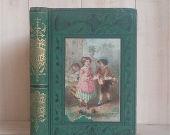 Antique Book Bertie and the Masons by Madeline Leslie 1868 Victorian Children's Book Decorative Binding Book Decor Vintage Books
