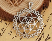 4 Flower of Life Charms in Silver Tone - C2524