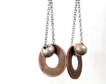 Rustic Vintage Copper Coin Dangle Earrings