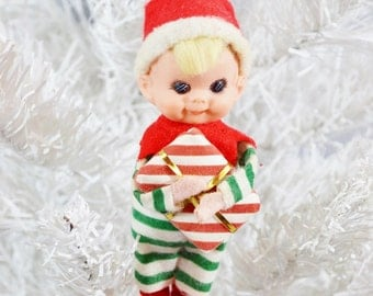 Vintage Elf Ornament Red Striped Green White Present Gift Small Felt Blond Christmas Pixie Japan 1960's