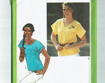 80s Pullover tops Easy Fitting Kimono Sleeves Size 16 Bust 38 1980 Simplicity 9437 Uncut Vintage tops sewing pattern