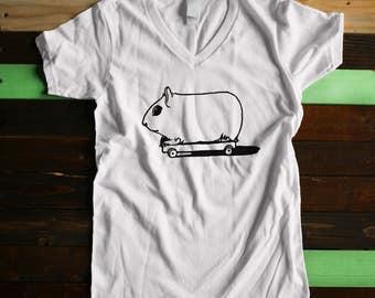 Women's V-Neck Hamster Skakeboarding Tshirt by Boise Screen Print Shop (Multiple colors) vintage style shirt