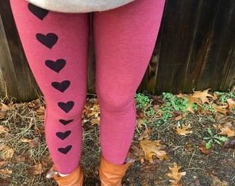 Valentine's Day Leggings, Heart Leggings, Yoga Leggings, Red Leggings, S,M,L