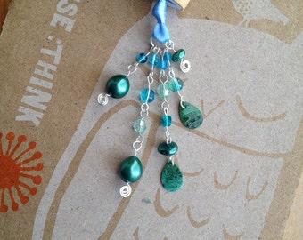 Teal Book Thong Beaded Bookmark Blue Ribbon Shell Beads Teacher Gift