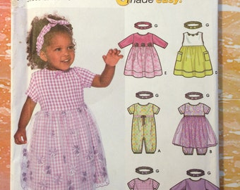 Simplicity 7032 Babies Dress, Romper and Headband