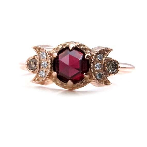 Harvest Moon Garnet and Diamond Cosmic Engagement Ring - 14k Rose Gold Moon Phase Bohemian Wedding Ring