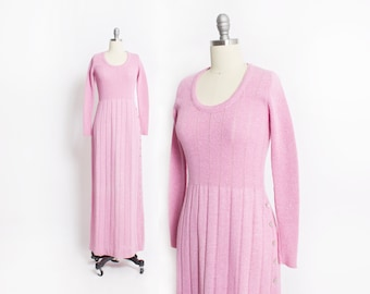 Vintage 70s Dress - Youth Guild Pink Knit Maxi Crochet Day Dress 1970s - Small S