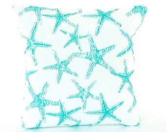 Aqua Outdoor Beach Throw Pillow COVERS Nautical Cushion Couch Patio Pillow Aqua White Ocean Blue ALL SIZES Coastal Starfish Cottage Decor