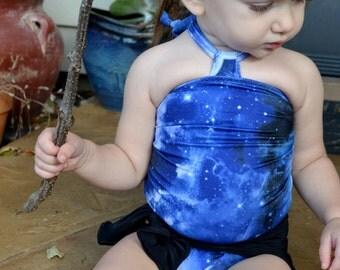 Baby Bathing Suit Blue Galaxy w/ Black Wrap Around Swimsuit Newborn, Toddler, Infant Girls Swimwear One Piece Tie On Swimming Costume