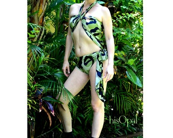Large Bathing Suit Camouflage Wrap Around Swimsuit Army Bathing Suit for Women, Teens and Maternity Green and Brown Camo Swimwear