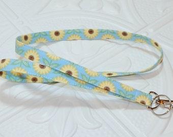 Sunflower Fabric Lanyard Badge Holder Keychain Lanyard