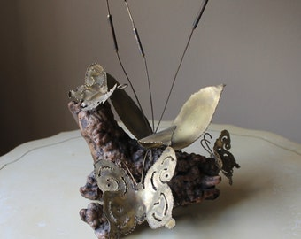 VTG Root Tin and Brass Butterfly Decoration