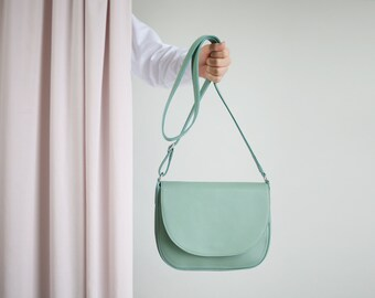 Crossbody Saddle Bag Sage Green, minimalistic shoulder bag