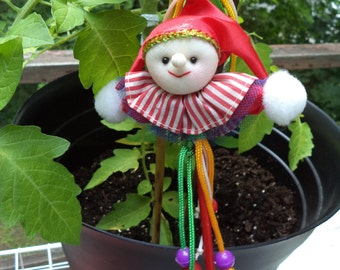 Vintage Christmas Jester Stick Puppet Ornament Very Festive with Smile & Bright Colors