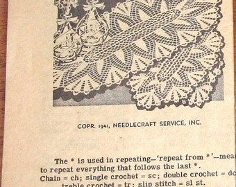 Vintage 1940s Laura Wheeler Crochet Pattern, Crocheted Runner Doily, Thread Lace Picot Fan Stripe Oval Doilies Mail Order Craft Pattern 2992