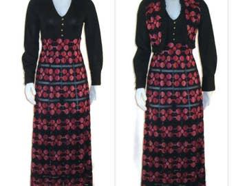 1970s Maxi Dress Long Dress Maxi Dress & Vest 70s Black Dress Boho Dress Long Sleeve Dress Pink Orange Black Black Pink Maxi Woven Dress