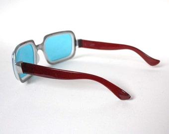 1960s Soviet Sun Glasses. Sapphire Blue / Red Brown Sun Glasses.  Sixties Fashion Accessory