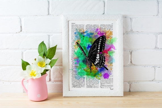Watercolor collection Butterfly 04 Printed on Vintage Dictionary Book page. Wall decor, wall hanging butterfly BFL007