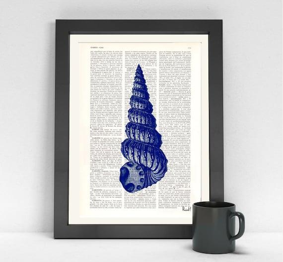 Blue Sea Shell Print Wall art Electric blue Sea shell Dictionary art Sea shore house decor blue Bathroom wall  SEA033