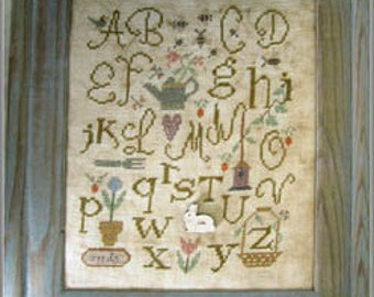 NEW Alphabet Garden INCLUDES embellishment cross stitch patterns Nashville Market 2017 by Nikyscreations sampler Easter Spring gardening