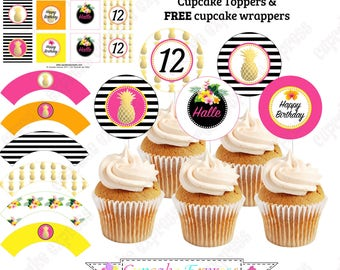 Pineapple Cupcake Toppers Luau Birthday Party decorations PRINTABLE  Hawaiian tropical gold black pink DIY Free Cupcake Wrappers