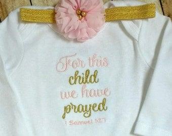 For This Child We Prayed bodysuit- baby girl onesie, Bible verse onesie, rainbow baby, Christian