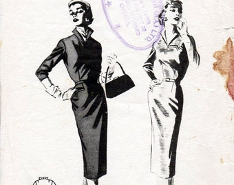 1950s Slim Sheath Dress Pattern Butterick 7479 Vintage Sewing Pattern Elegant Dress with Standing Wing Collar Bust 32 Petites