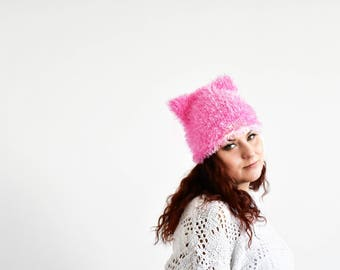 Candy pink pussycat hat, fur pussy cat hat, cat ear hat, cat hat, kitty hat, hat with ears, pussycat beanie, animal hat, pussyhat