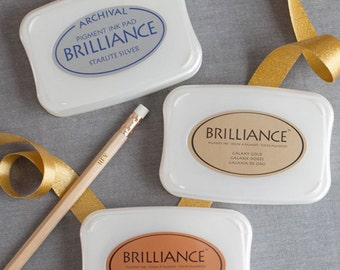 Metallic Ink Pad available in Silver, Gold or Copper | Brilliance Archival Ink Pad | Rubber stamp Ink pad Pigment quick dry ink pad
