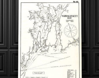 Vintage Antique Print of Narragansett Bay, Rhode Island on your choice of Photo Paper Matte Paper or Canvas Giclee