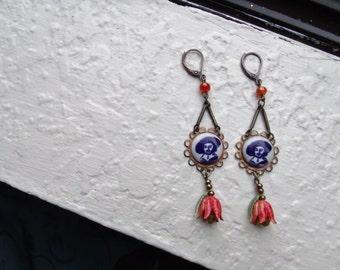 Rembrandt Earrings - tulips, Delft, art earrings, blue/white/orange