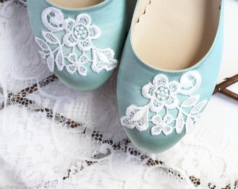 Wedding Flat Shoes Mint Green Satin Bridal Ballet Flats with Lace Guipure Bride Engagement Special Night Size 8 (US)