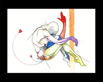 Kiss Bang Heart, Original colorful watercolor drawing sketch, Human anatomy figure surrealist vivid art, Nude Woman ballerina, NYC artist