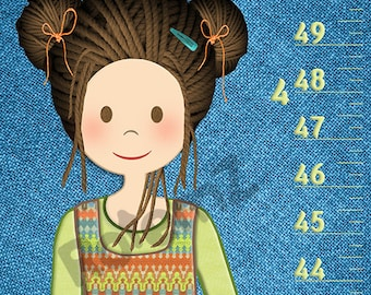 Growth Chart for Girls  - Feet & Inches or Metric  - Personalized Height Chart