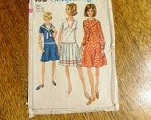 """MOD 1960s Dropped Waist Sailor Dress w/ Flared or Pleated Skirt - Size 16 (Bust 36"""") - VINTAGE Sewing Pattern Simplicity 6919"""