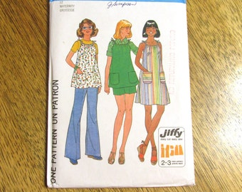 "1970s JIFFY A-Line Tank Dress with Drawstring Neckline & Wide Leg Pants - Size 12 (Bust 34"") - UNCUT Vintage Sewing Pattern Simplicity 7551"