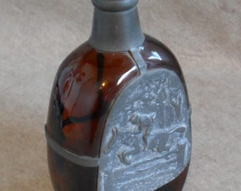 Vintage Pewter Bar Bottle: Amber & Danish Pewter, Whiskey Liquor Bottle with Horse and Rider