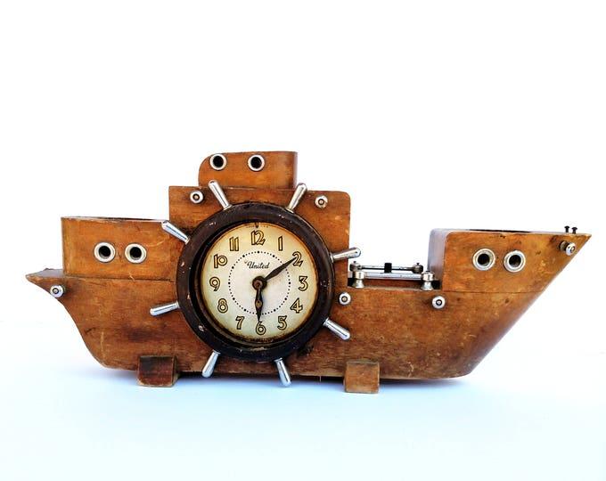Vintage 1950's Wooden Ship Clock - United Clock Company - Nautical Shabby Chic