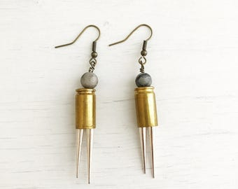 Samara Earrings // Bullet casings + Spikes