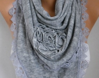 Gray Knitted Floral Scarf, Shawl Cowl Lace Bridesmaid Gift Bridal Accessories Gift Ideas For Her, Women Fashion Accessories