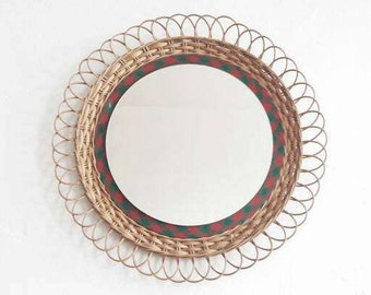 Vintage Woven Rattan Mirror Made in Former GDR East Germany