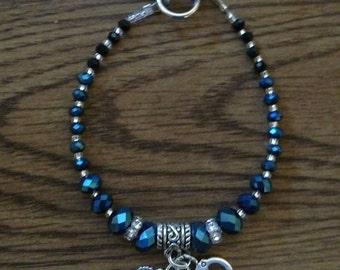 Thin Blue Line Beaded Bracelet