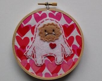 "4"" Valentine Yeti Embroidery Hoop Ornament"