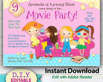 Children invites etsy editable movie party invitation cute girls movie night invite edit on your home computer filmwisefo Gallery