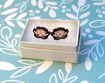 Wood Lotus Earrings - Wooden Earrings / Cute Flower Earrings / Pink Lotus Jewellery / Wood Flower Earring / Wood Post Earring / Lotus Flower