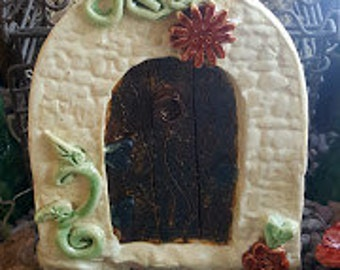 Fairy Door Fairy door with vine Fairy door handmade pottery