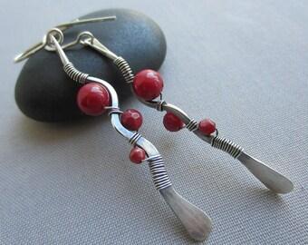 Sale20% off/ Wire Earrings/ Long Silver Earrings/ Coral Earrings/ Red Bamboo Coral Earrings/ Bar Earrings/ wire Wrapped earrings