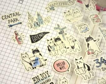Lovely Travel Cat Deco Sticker (1 Sheet)