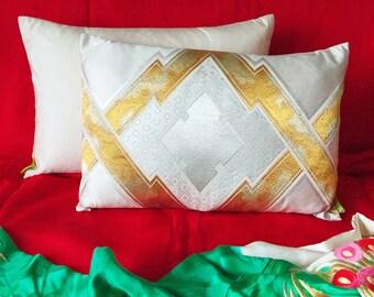 """Gold Silver Obi Pillow Kimono Cushion Cream Silk Back, Metallic Accent Pillow, Upcycled Japanese Obi, 12x18"""" Rectangular Ltd Ed ECO FRIENDLY"""