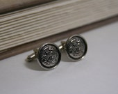 Scottish Cufflinks Thistle cufflinks Mens Accessories - made with vintage buttons